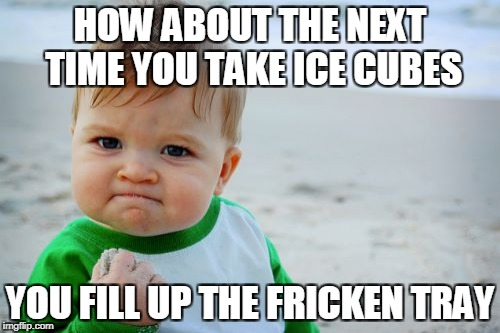 Success Kid Original Meme | HOW ABOUT THE NEXT TIME YOU TAKE ICE CUBES YOU FILL UP THE FRICKEN TRAY | image tagged in memes,success kid original | made w/ Imgflip meme maker