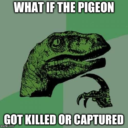 Philosoraptor Meme | WHAT IF THE PIGEON GOT KILLED OR CAPTURED | image tagged in memes,philosoraptor | made w/ Imgflip meme maker