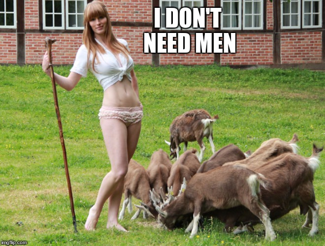 Sexy Shepherd | I DON'T NEED MEN | image tagged in sexy,goat,shepherd | made w/ Imgflip meme maker