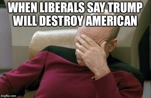 Captain Picard Facepalm Meme | WHEN LIBERALS SAY TRUMP WILL DESTROY AMERICAN | image tagged in memes,captain picard facepalm | made w/ Imgflip meme maker