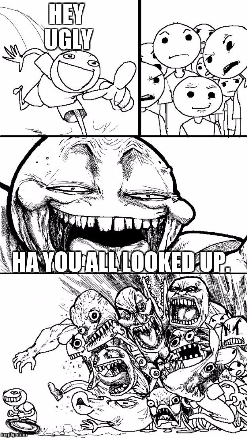 Hey Internet Meme | HEY UGLY HA YOU ALL LOOKED UP. | image tagged in memes,hey internet | made w/ Imgflip meme maker