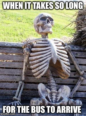 Waiting Skeleton Meme | WHEN IT TAKES SO LONG FOR THE BUS TO ARRIVE | image tagged in memes,waiting skeleton | made w/ Imgflip meme maker