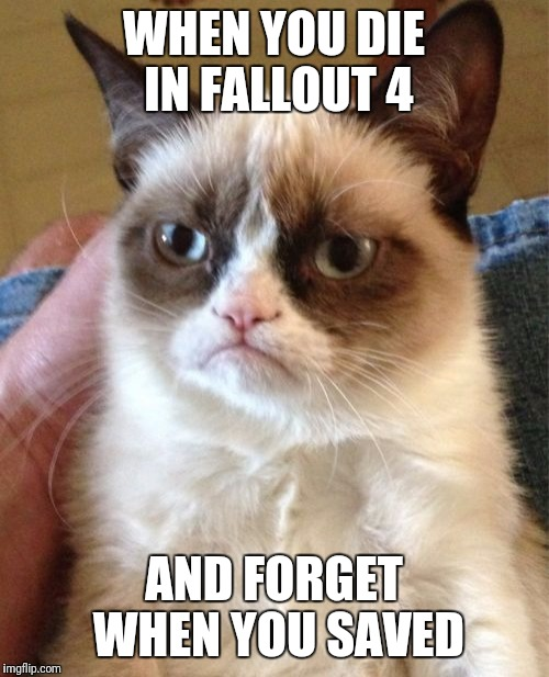 Grumpy Cat Meme | WHEN YOU DIE IN FALLOUT 4 AND FORGET WHEN YOU SAVED | image tagged in memes,grumpy cat | made w/ Imgflip meme maker