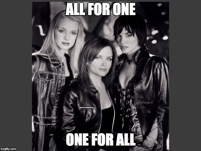 All for one, one for all. | ALL FOR ONE ONE FOR ALL | image tagged in bop,helena,oracle,black canary | made w/ Imgflip meme maker
