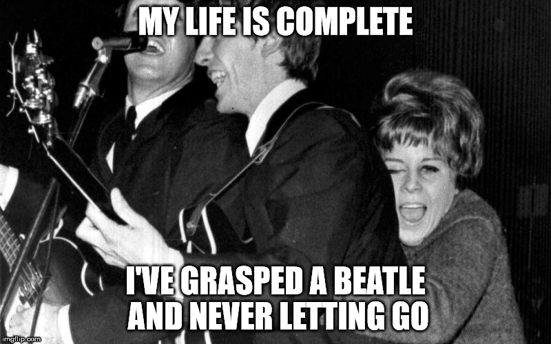 MY LIFE IS COMPLETE I'VE GRASPED A BEATLE AND NEVER LETTING GO | image tagged in pedophilic beatles fan | made w/ Imgflip meme maker
