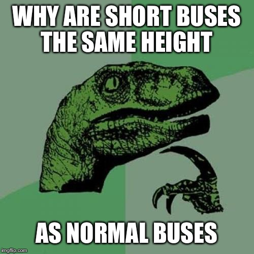 Time to rethink your whole life | WHY ARE SHORT BUSES THE SAME HEIGHT AS NORMAL BUSES | image tagged in memes,philosoraptor | made w/ Imgflip meme maker