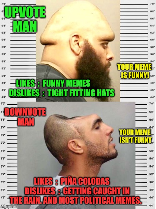 Here's How It Works, New Users. | UPVOTE MAN DOWNVOTE MAN LIKES  :  FUNNY MEMES           DISLIKES  :  TIGHT FITTING HATS LIKES  :  PIÑA COLODAS      DISLIKES  :  GETTING CA | image tagged in upvote,upvotes,downvote,downvotes,imgflip,imgflip users | made w/ Imgflip meme maker