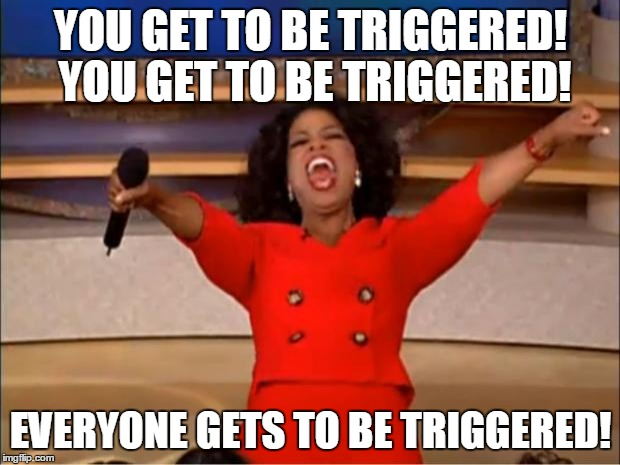 Oprah You Get A Meme | YOU GET TO BE TRIGGERED! YOU GET TO BE TRIGGERED! EVERYONE GETS TO BE TRIGGERED! | image tagged in memes,oprah you get a | made w/ Imgflip meme maker