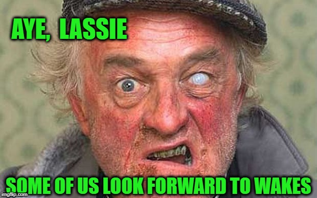 AYE,  LASSIE SOME OF US LOOK FORWARD TO WAKES | made w/ Imgflip meme maker