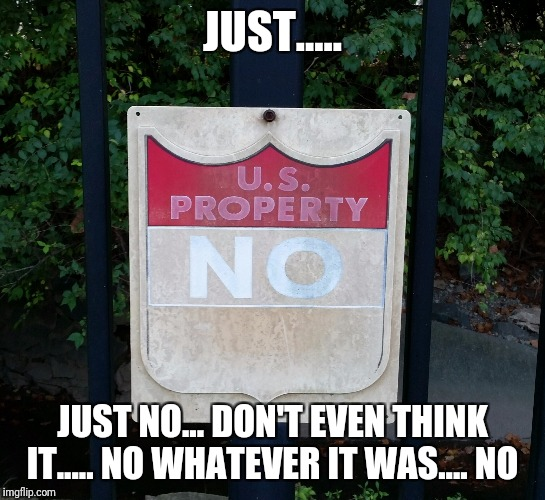 I just saw this sign... I guess it knows me... | JUST..... JUST NO... DON'T EVEN THINK IT..... NO WHATEVER IT WAS.... NO | image tagged in no,original memes,memes,government | made w/ Imgflip meme maker