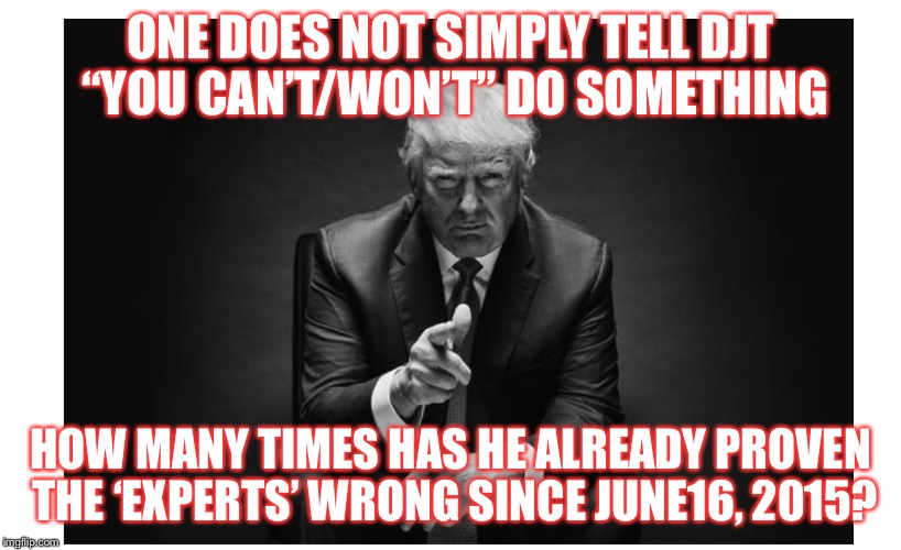 "One does not simply | ONE DOES NOT SIMPLY TELL DJT ""YOU CAN'T/WON'T"" DO SOMETHING HOW MANY TIMES HAS HE ALREADY PROVEN THE 'EXPERTS' WRONG SINCE JUNE16, 2015? 