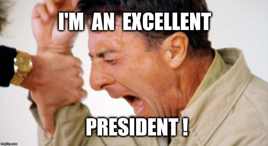 smart, too | I'M  AN  EXCELLENT PRESIDENT ! | image tagged in memes,funny memes,political meme,donald trump | made w/ Imgflip meme maker
