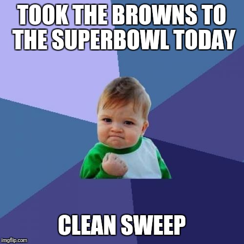 Success Kid Meme | TOOK THE BROWNS TO THE SUPERBOWL TODAY CLEAN SWEEP | image tagged in memes,success kid | made w/ Imgflip meme maker