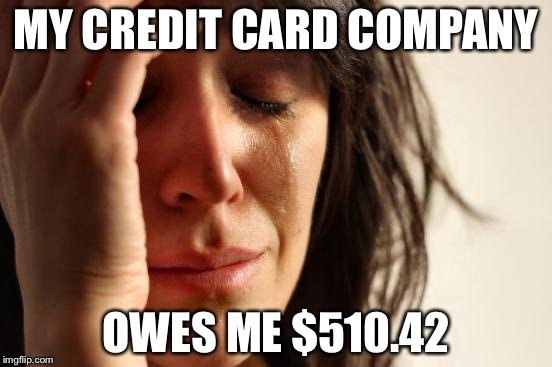 Overpaid Bill | MY CREDIT CARD COMPANY OWES ME $510.42 | image tagged in memes,first world problems | made w/ Imgflip meme maker