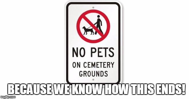 BECAUSE WE KNOW HOW THIS ENDS! | image tagged in funny sign | made w/ Imgflip meme maker