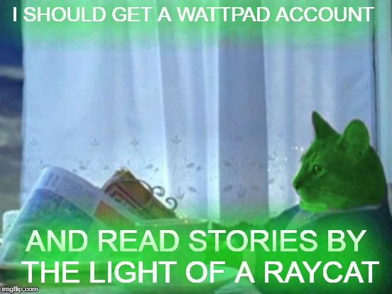 I SHOULD GET A WATTPAD ACCOUNT AND READ STORIES BY THE LIGHT OF A RAYCAT | made w/ Imgflip meme maker