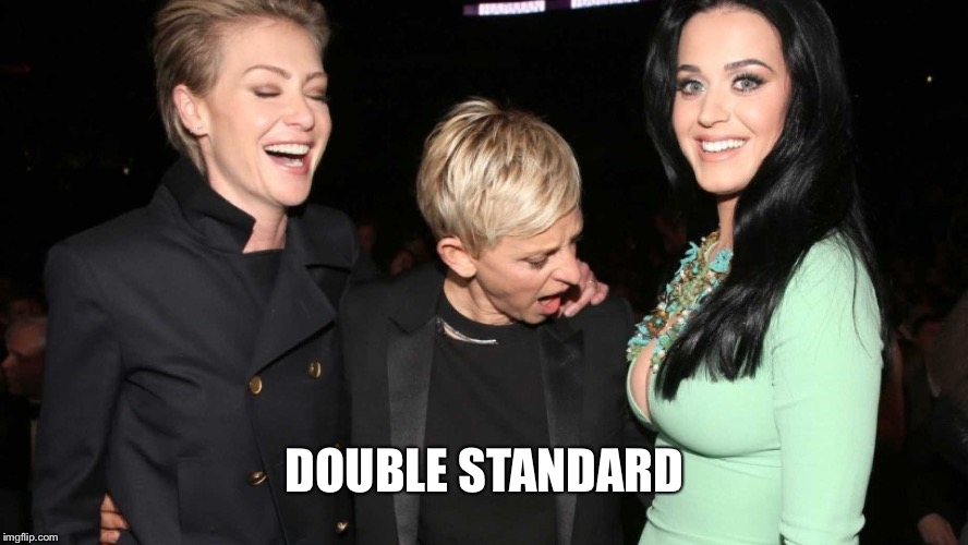 What Would Weinstein Say | DOUBLE STANDARD | image tagged in ellen degeneres,harvey weinstein,hollywood,double standard,katy perry | made w/ Imgflip meme maker