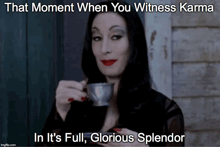 That Moment When You Witness Karma In It's Full, Glorious Splendor | image tagged in mortice karma tea | made w/ Imgflip meme maker
