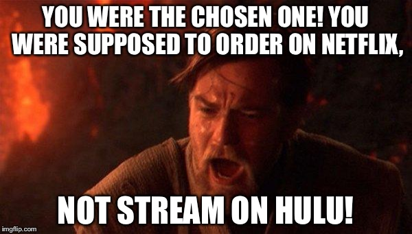 Stream Wars - Revenge of Hulu | YOU WERE THE CHOSEN ONE! YOU WERE SUPPOSED TO ORDER ON NETFLIX, NOT STREAM ON HULU! | image tagged in memes,you were the chosen one star wars,hulu,netflix,blockbuster,watching tv | made w/ Imgflip meme maker