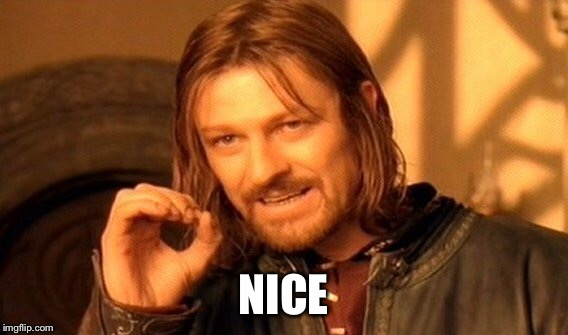One Does Not Simply Meme | NICE | image tagged in memes,one does not simply | made w/ Imgflip meme maker