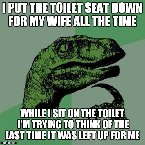 Going To Be Here A While, May Have To Get Physical Therapy To Learn How To Walk Again  | I PUT THE TOILET SEAT DOWN FOR MY WIFE ALL THE TIME WHILE I SIT ON THE TOILET I'M TRYING TO THINK OF THE LAST TIME IT WAS LEFT UP FOR ME | image tagged in memes,philosoraptor,funny,toilet humor,toilet seat up | made w/ Imgflip meme maker