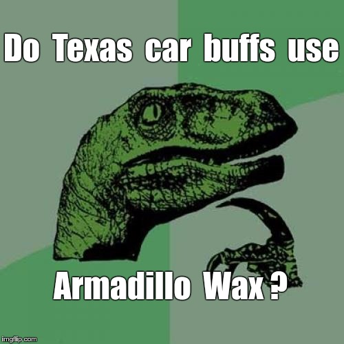 Texas Car Buffs | Do  Texas  car  buffs  use Armadillo  Wax ? | image tagged in memes,philosoraptor,texas,cars | made w/ Imgflip meme maker