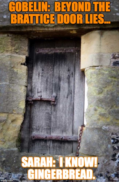 Medieval Trick (or Treat) | GOBELIN:  BEYOND THE BRATTICE DOOR LIES... SARAH:  I KNOW!  GINGERBREAD. | image tagged in gobelin,goblin,two door riddle,medieval memes | made w/ Imgflip meme maker
