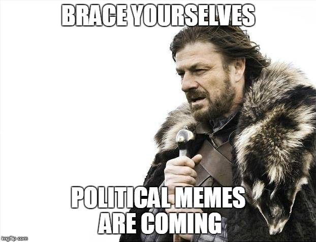 Brace Yourselves X is Coming Meme | BRACE YOURSELVES POLITICAL MEMES ARE COMING | image tagged in memes,brace yourselves x is coming | made w/ Imgflip meme maker