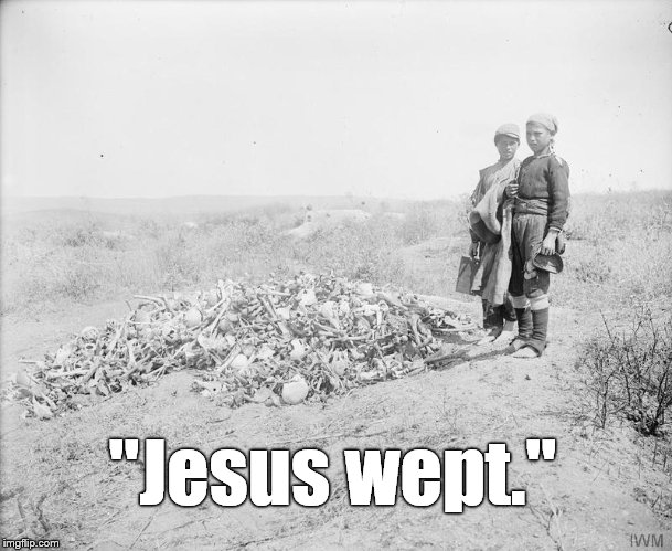 "War is the ultimate expression of the fallen nature of this world. Pray for peace.  | ""Jesus wept."" 