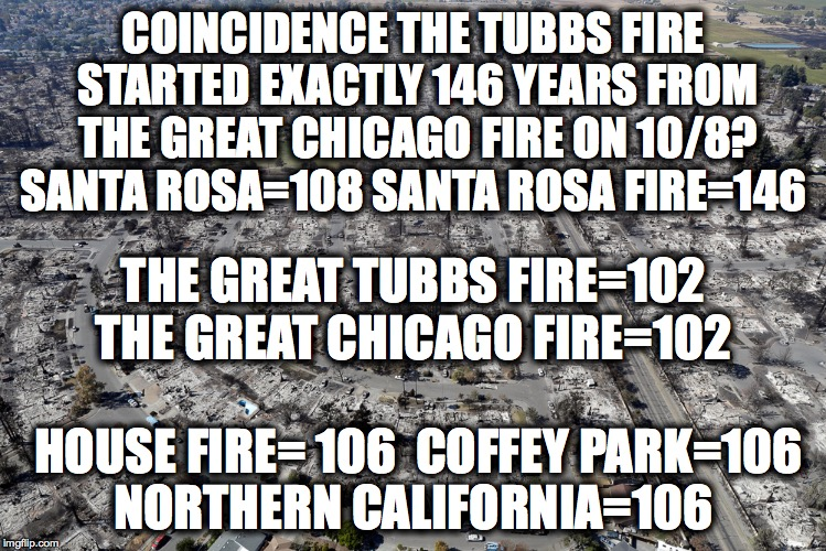 106, the number of Prophecy. Investigate the Tubbs Fire! | COINCIDENCE THE TUBBS FIRE STARTED EXACTLY 146 YEARS FROM THE GREAT CHICAGO FIRE ON 10/8? SANTA ROSA=108 SANTA ROSA FIRE=146 THE GREAT TUBBS | image tagged in tubbsfire,california wildfires,wildfires,firestorm,coffey park | made w/ Imgflip meme maker