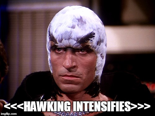 Hawking Intensifies | <<<HAWKING INTENSIFIES>>> | image tagged in science fiction,hawk,microaggression,passive aggressive | made w/ Imgflip meme maker