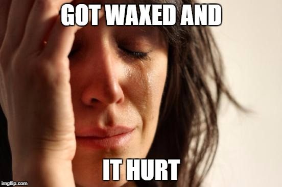 First World Problems Meme | GOT WAXED AND IT HURT | image tagged in memes,first world problems | made w/ Imgflip meme maker