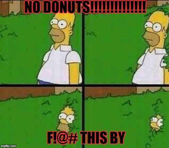 Simpsons | NO DONUTS!!!!!!!!!!!!!! F!@# THIS BY | image tagged in simpsons | made w/ Imgflip meme maker