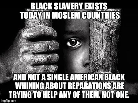 BLACK SLAVERY EXISTS TODAY IN MOSLEM COUNTRIES AND NOT A SINGLE AMERICAN BLACK WHINING ABOUT REPARATIONS ARE TRYING TO HELP ANY OF THEM. NOT | image tagged in poor little boy | made w/ Imgflip meme maker