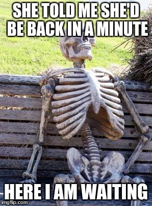 Waiting Skeleton Meme | SHE TOLD ME SHE'D BE BACK IN A MINUTE HERE I AM WAITING | image tagged in memes,waiting skeleton | made w/ Imgflip meme maker