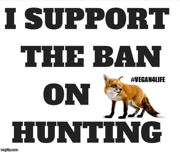 I support the ban on hunting | #VEGAN4LIFE | image tagged in vegan4life,hunting,ban | made w/ Imgflip meme maker