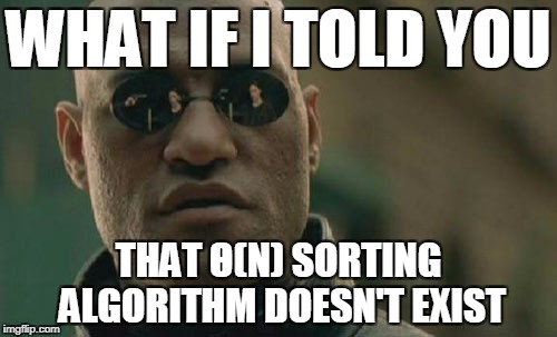 Matrix Morpheus Meme | WHAT IF I TOLD YOU THAT Θ(N) SORTING ALGORITHM DOESN'T EXIST | image tagged in memes,matrix morpheus | made w/ Imgflip meme maker