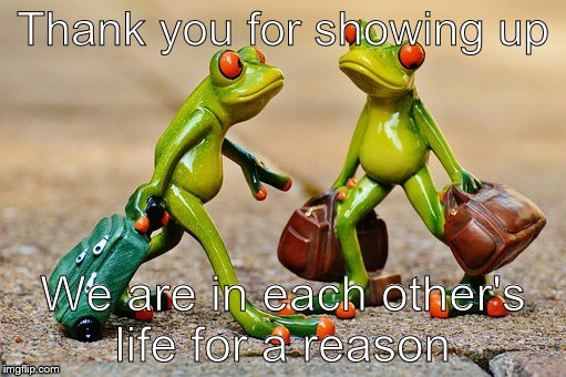 Thank you for showing up We are in each other's life for a reason | image tagged in together,travel,couple | made w/ Imgflip meme maker