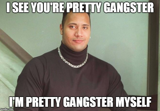 Pretty Gangster | I SEE YOU'RE PRETTY GANGSTER I'M PRETTY GANGSTER MYSELF | image tagged in the rock dork,gangster,funny memes,lol,the rock | made w/ Imgflip meme maker