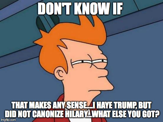 Futurama Fry Meme | DON'T KNOW IF THAT MAKES ANY SENSE....I HAYE TRUMP, BUT DID NOT CANONIZE HILARY...WHAT ELSE YOU GOT? | image tagged in memes,futurama fry | made w/ Imgflip meme maker