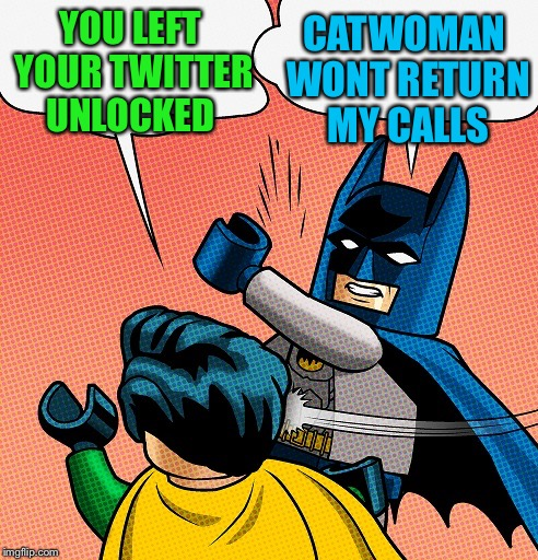 I hear some great stories along these lines | YOU LEFT YOUR TWITTER UNLOCKED CATWOMAN WONT RETURN MY CALLS | image tagged in batman slapping robin lego,not signing out,why are you looking at me like that,anyone ever do this to you | made w/ Imgflip meme maker