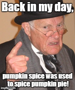 Just because it's fall doesn't mean it tastes good in EVERYTHING! | Back in my day, pumpkin spice was used to spice pumpkin pie! | image tagged in memes,back in my day,pumpkin spice | made w/ Imgflip meme maker
