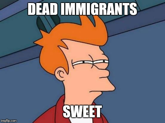 Futurama Fry Meme | DEAD IMMIGRANTS SWEET | image tagged in memes,futurama fry | made w/ Imgflip meme maker