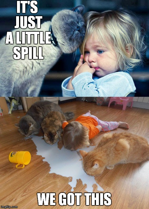 The cuteness is too much.. | IT'S JUST A LITTLE SPILL WE GOT THIS | image tagged in little girl,spilled,milk,i got this | made w/ Imgflip meme maker