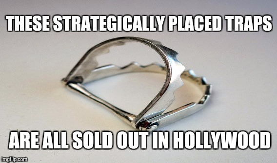 Hollywood cannot keep these in stock | THESE STRATEGICALLY PLACED TRAPS ARE ALL SOLD OUT IN HOLLYWOOD | image tagged in funny,animals,gifs,memes,harvey weinstein | made w/ Imgflip meme maker