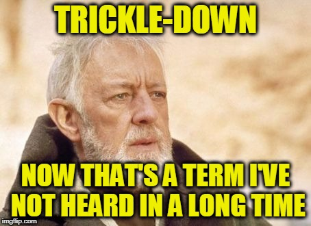 Obi Wan Kenobi Meme | TRICKLE-DOWN NOW THAT'S A TERM I'VE NOT HEARD IN A LONG TIME | image tagged in memes,obi wan kenobi | made w/ Imgflip meme maker