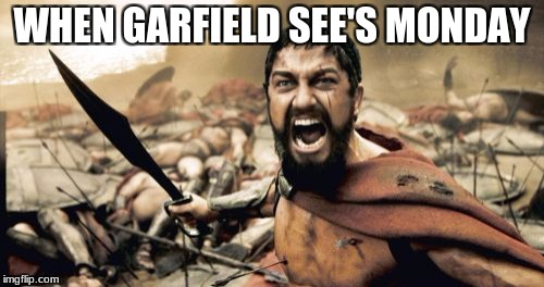 Sparta Leonidas Meme | WHEN GARFIELD SEE'S MONDAY | image tagged in memes,sparta leonidas | made w/ Imgflip meme maker