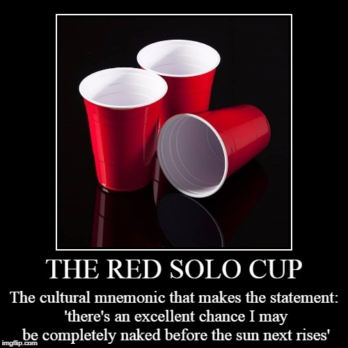 it's just not the same if it's blue | THE RED SOLO CUP | The cultural mnemonic that makes the statement: 'there's an excellent chance I may be completely naked before the sun nex | image tagged in funny,demotivationals,party,drinking,red cup | made w/ Imgflip demotivational maker