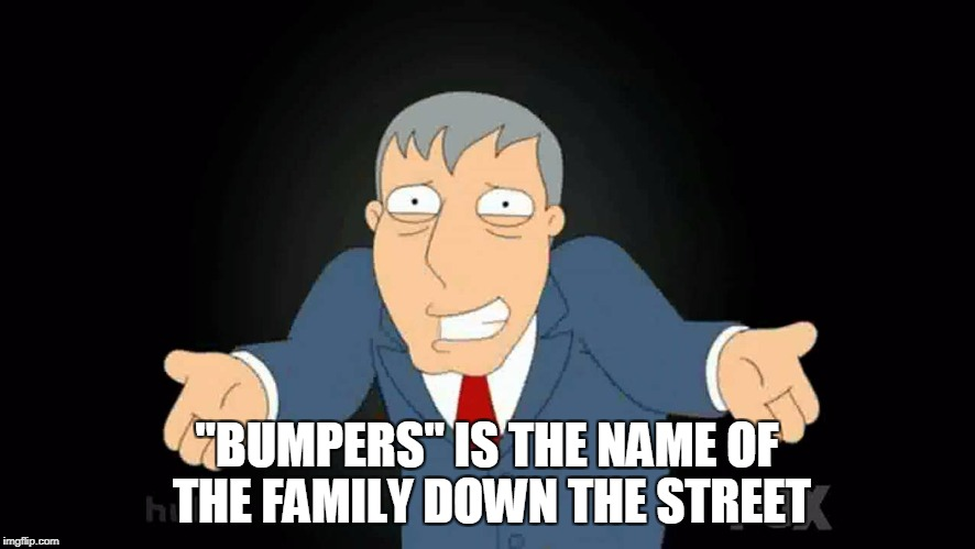 """BUMPERS"" IS THE NAME OF THE FAMILY DOWN THE STREET 