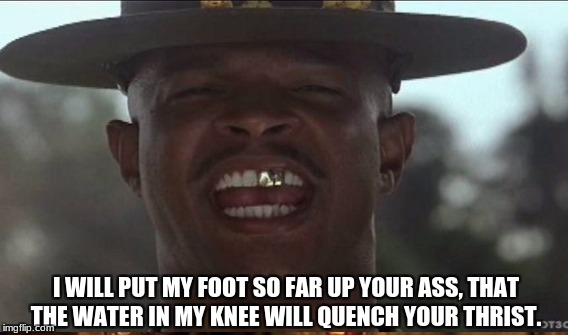 Sargent Payne | I WILL PUT MY FOOT SO FAR UP YOUR ASS, THAT THE WATER IN MY KNEE WILL QUENCH YOUR THRIST. | image tagged in discipline,military,arm forces,battle,war,boot camp | made w/ Imgflip meme maker